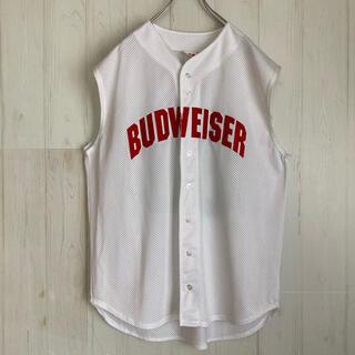 USA製 A4 バドワイザー ゲームシャツ ベースボールシャツ 古着(Tシャツ/カットソー(半袖/袖なし))