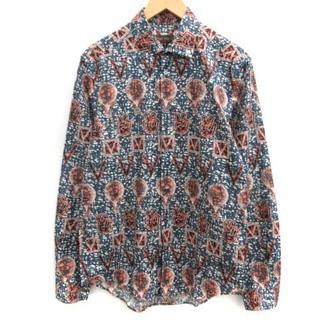 ルイヴィトン(LOUIS VUITTON)のルイヴィトン L シャツ 総柄 ロゴ 長袖 紺 紺 ネイビー 赤 レッド (シャツ)