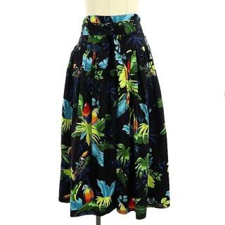 マークジェイコブス(MARC JACOBS)のマークジェイコブス トロピカル フレアスカート ロング 10 黒 マルチカラー(ロングスカート)