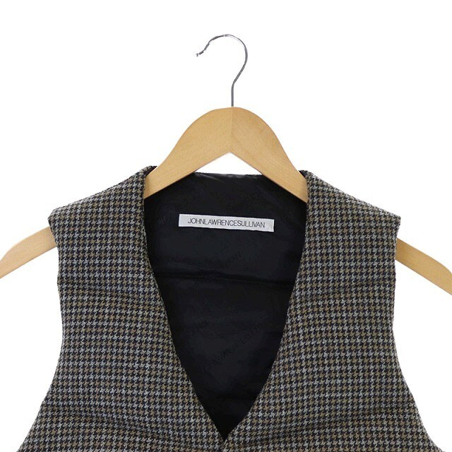 JOHN LAWRENCE SULLIVAN(ジョンローレンスサリバン)のジョンローレンスサリバン ウール ダウンベスト 千鳥格子 34 グレー ベージュ メンズのジャケット/アウター(ダウンベスト)の商品写真