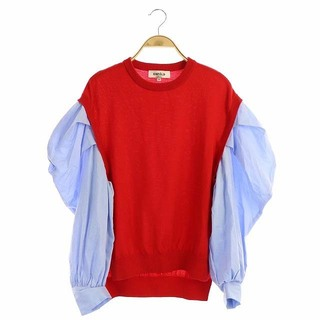 エンフォルド(ENFOLD)のエンフォルド ENFOLD 19AW シャツ ニット 38 レッド ブルー(カットソー(長袖/七分))
