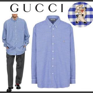 グッチ(Gucci)のGUCCI ギンガムチェック シャツ ブルー  オーバーサイズ(シャツ)