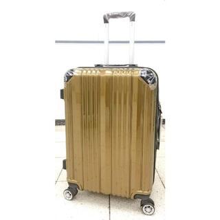 大型軽量スーツケース 8輪キャリーバッグ TSAロック付き Lサイズ ゴールド(旅行用品)
