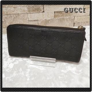 グッチ(Gucci)のグッチ GGキャンバス L字ファスナー 長財布 美品 【鑑定済】(ストール)