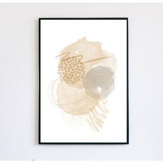 【アートポスター】ニュアンス ベージュ 抽象画 選べるサイズ おしゃれ(アート/写真)
