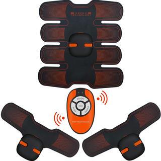 【新品・高性能】EMS腹筋ベルト エクササイズ 筋トレ USB充電式 レッド×黒(エクササイズ用品)