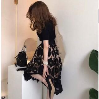 ディーホリック(dholic)のフラワーレーススカート スカート単品(ひざ丈スカート)