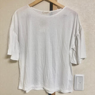 ショコラフィネローブ(chocol raffine robe)の新品定価2990円 ドライ+接触冷感 袖フリルトップス オフホワイト 白(カットソー(半袖/袖なし))