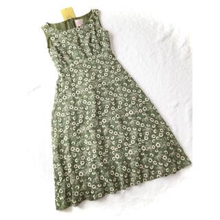 Sybilla - 新品同様シビラ抹茶色グリーン花柄総刺繍ボタニカルフラワー綿ロングワンピース
