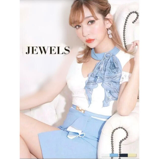 JEWELS - キャバ ドレス ミニドレス フリル オフショル ブルー
