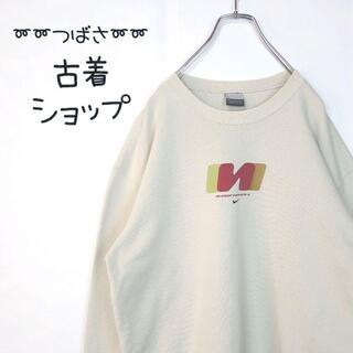 NIKE - 【オフホワイト】NIKE でかろご クリーム色 古着 スウェット 90s M