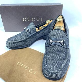 グッチ(Gucci)の【良品】グッチ GG柄 ホースビット キャンパスローファー 35ハーフ C(ローファー/革靴)