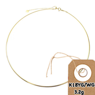 K18YG/WG リバーシブル オメガ ネックレス(ネックレス)