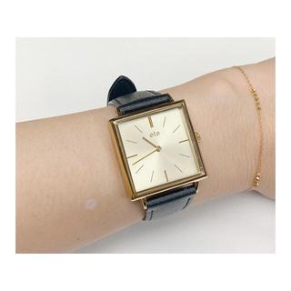 ete - エテ ete スクエア腕時計 アナログ 腕時計 ゴールド ブラック