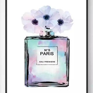 残り2点☆A4 シャネルN°5 香水×花 ピンク&パープル コットンキャンバス(アート/写真)