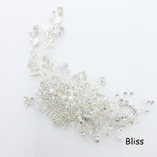 ブリス(Bliss)のウェディングヘッドドレス【リーフ フラワー シルバー ビジュー】(ヘッドドレス/ドレス)