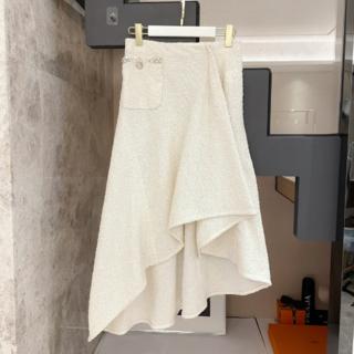 シャネル(CHANEL)の【シャネル】CHANEL☆ツイード スカート 白 ロング (ひざ丈スカート)