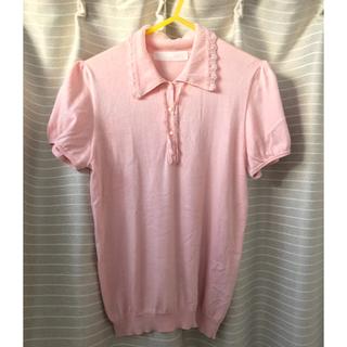 ピンクハウス(PINK HOUSE)のPINK HOUSE  シルク混 ピンクポロシャツ(カットソー(半袖/袖なし))