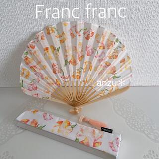 フランフラン(Francfranc)のフランフラン フラワー扇子 ピンク(その他)