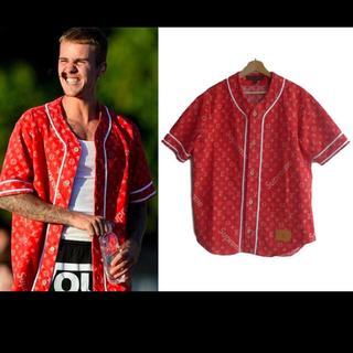 ルイヴィトン(LOUIS VUITTON)の正規品極上美品ヴィトン  シュプリーム ベースボールシャツ赤M本物希少(シャツ)