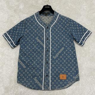シュプリーム(Supreme)の正規品極上美品ヴィトン  シュプリーム 青ベースボールシャツM本物(シャツ)