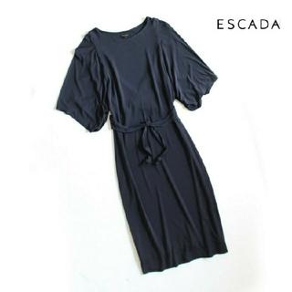 エスカーダ(ESCADA)のエスカーダ ESCADA■デザイン ワンピース ウエストリボン ネイビー(ひざ丈ワンピース)