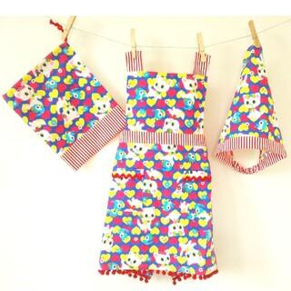 エプロン 三角巾 3点セット(100~120cm)バッククロスタイプ レトロ猫柄(ファッション雑貨)