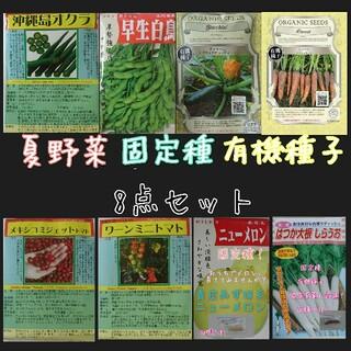夏野菜 固定種 有機種子 8点セット 家庭菜園 野菜の種 種子 種 ハーブの種(野菜)