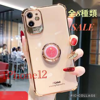iPhone12用 ケース かわいい おしゃれ シンプル バンカーリング (iPhoneケース)