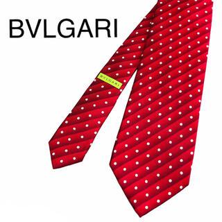 ブルガリ(BVLGARI)のBVLGARI ネクタイ セッテピエゲ 赤 総柄 ドット(ネクタイ)