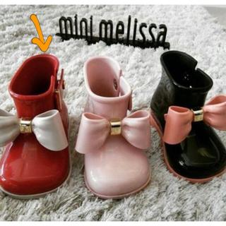 メリッサ(melissa)のミニメリッサ  minimelissa リボン レインブーツ レッド 赤 子供(長靴/レインシューズ)