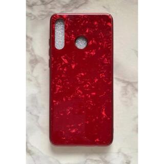 ファーウェイ(HUAWEI)のキラキラ可愛い♪ガラスシェル大理石風カバー HUAWEIP30Lite レッド赤(Androidケース)