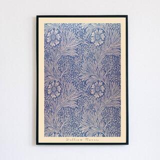 【アートポスター】ウィリアムモリス ブルー 抽象画 柄 テキスタイル(アート/写真)