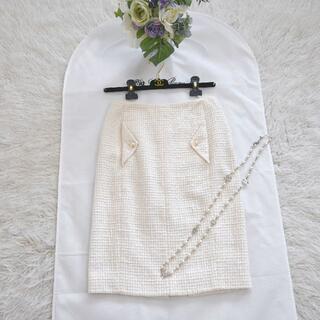 シャネル(CHANEL)の★CHANEL★美品★CCパール★サマーツイード★ホワイト★スカート(ひざ丈スカート)