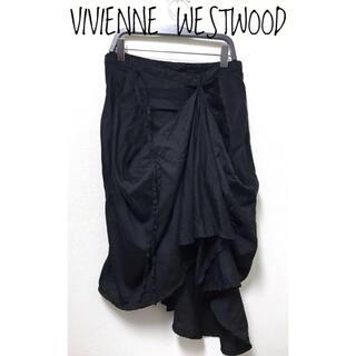 ヴィヴィアンウエストウッド(Vivienne Westwood)のヴィヴィアンウエストウッド【美品】薄手 変形 立体 ドレープ 膝丈 スカート(ひざ丈スカート)