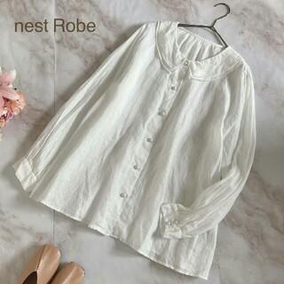 ネストローブ(nest Robe)の美品 ネストローブ nest Robe リネンブラウス ダブルカラー 長袖 白(シャツ/ブラウス(長袖/七分))
