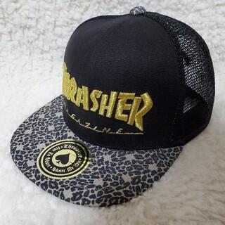 スラッシャー(THRASHER)のTHRASHER レオパード × ブラック メッシュ スナップバック キャップ(キャップ)