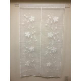 刺繍のれん タタミ刺繍ホワイト85cmx150cm(のれん)
