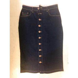 ディーゼル(DIESEL)のDIESEL♡フリル付きデニムタイトスカート 27(ひざ丈スカート)