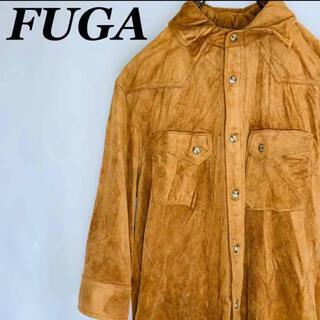 フーガ(FUGA)の【お兄系】フーガFUGA ワイヤー入りベロアシャツ 7部袖 USA古着(シャツ)