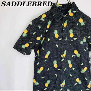 【古着女子】アロハシャツ パイナップル柄 ブラック 夏 ハワイ 海 美品