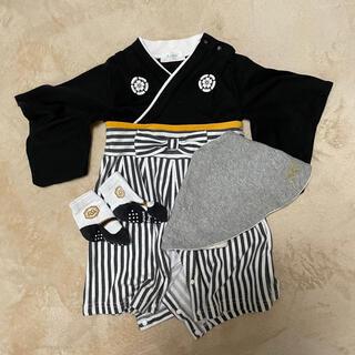 【aism様専用】袴ロンパース 3点セット 黒70サイズ 新食い初め 初節句(和服/着物)