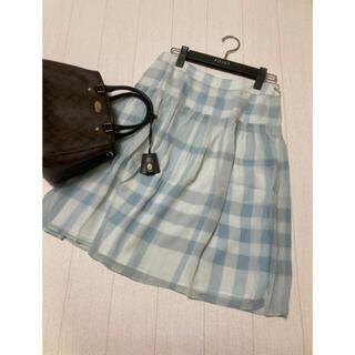 バーバリー(BURBERRY)の美品 バーバリー ロンドン シルク スカート  チェック ライトブルー(ひざ丈スカート)