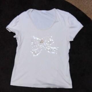 トゥービーシック(TO BE CHIC)のトゥービーシックリボンスパンコールTシャツ(Tシャツ(半袖/袖なし))