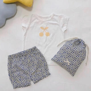 プティマイン(petit main)のプティマイン 130 チェリー柄Tシャツ×パンツパジャマセット(パジャマ)