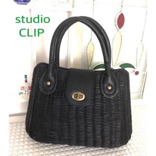 スタディオクリップ(STUDIO CLIP)のstudio CLIP  ラタンのハンドバッグ ブラック スタディオクリップ(かごバッグ/ストローバッグ)