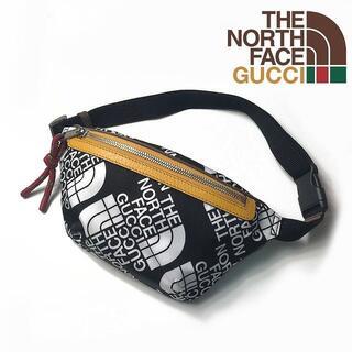 グッチ(Gucci)のGUCCI THE NORTH FACE バッグ ポーチ 総柄 黒 210226(ウエストポーチ)