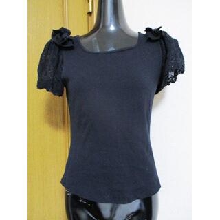 エムズグレイシー(M'S GRACY)の2~3回使用程度☆エムズグレイシー  袖レース 半袖カットソー 黒 40 M(Tシャツ(半袖/袖なし))