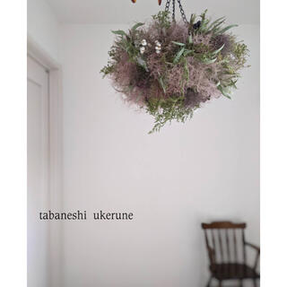 ふわふわのスモークツリーに白い小花を添えた フライング リース ドライフラワー(ドライフラワー)