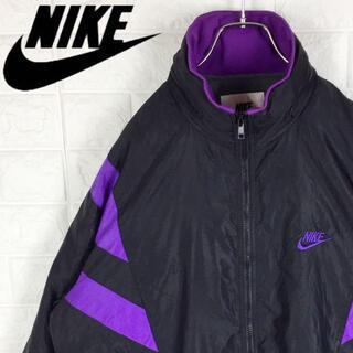 NIKE - ナイキ 90s ナイロンジャケット ワンポイント刺繍 胸ロゴ ゆるだぼ ブラック